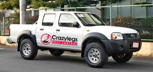 Crazylegs Pest Control Vehicle in Victoria